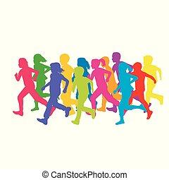 correndo, bambini, silhouette, colorato