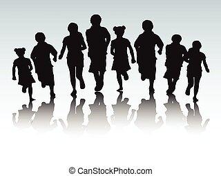 correndo, bambini, silhouette
