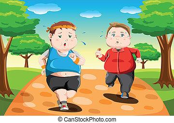 correndo, bambini, sovrappeso