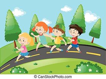 correndo, bambini, strada