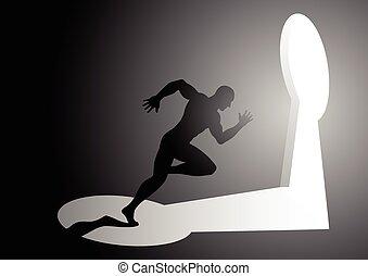 correndo, buco serratura, uomo