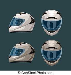 correndo, capacetes, jogo, azul