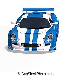 correndo carro, fantasia, azul, branca