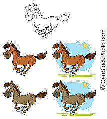 correndo, cavalli, cartone animato