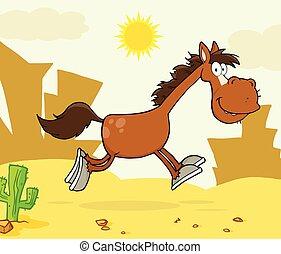 correndo, cavallo, carattere, sorridente