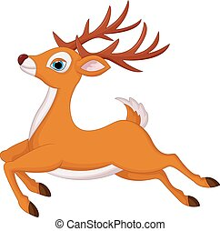 correndo, cervo, cartone animato