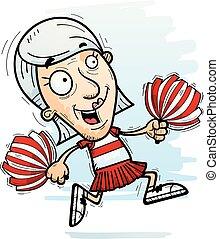 correndo, cittadino, anziano, cartone animato, cheerleader
