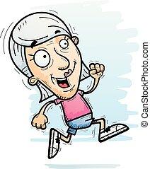correndo, cittadino, anziano, cartone animato