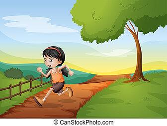 correndo, collina, ragazza, hurriedly