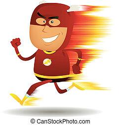 correndo, comico, superhero, digiuno