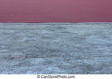 correndo, con, uno, pavimento cemento