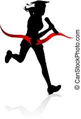 correndo, concetto, educazione, corsa, laureato