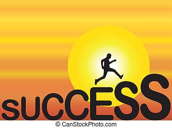correndo, concetto, successo, adattare, uomo