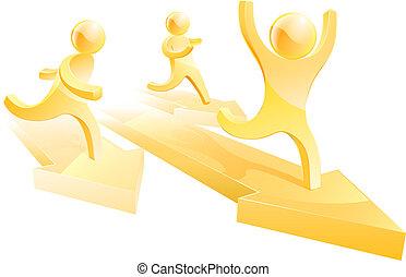 correndo, corsa, oro, persone