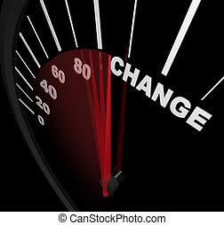 correndo, direção, -, mudança, velocímetro