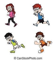 correndo, disegno, illustrazione