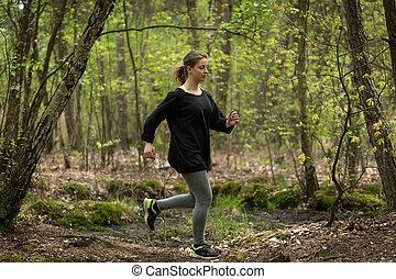 correndo, donna, adattare, fuori