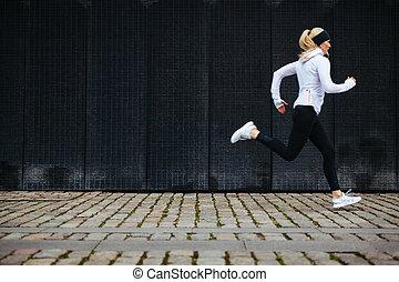 correndo, donna, marciapiede, giovane, mattina