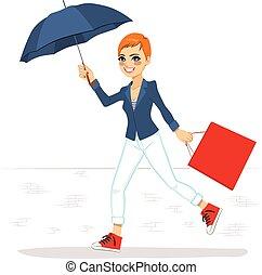 correndo, donna, ombrello