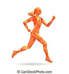 correndo, donna, silhouette