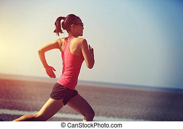 correndo, donna, spiaggia, giovane, asiatico