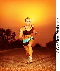 correndo, donna, tramonto, sportivo