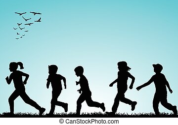 correndo, esterno, bambini, illustrazione