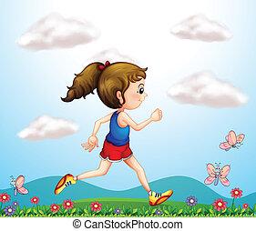 correndo, farfalle, ragazza