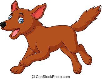 correndo, felice, cane, cartone animato