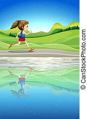 correndo, fiume, lungo, ragazza