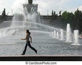 correndo, fontana, ragazza