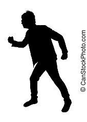 correndo, forma, uomo
