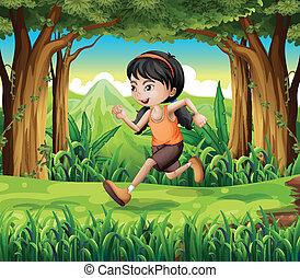 correndo, giovane ragazza, foresta