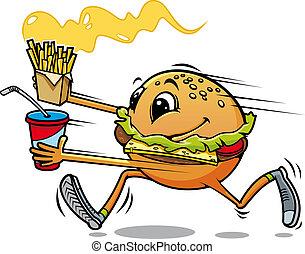 correndo, hamburger