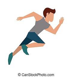 correndo, idoneità, uomo