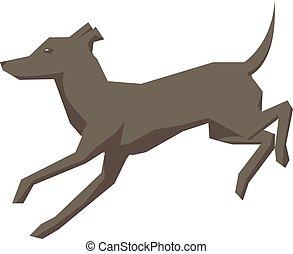 correndo, illustrazione, cane, bianco, vettore, fondo.