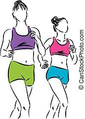 correndo, illustrazione, donne