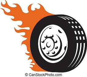 correndo, inflamável, pneu