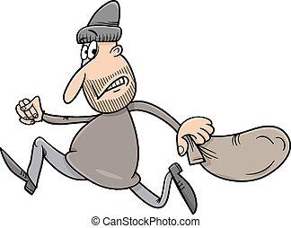 correndo, ladro, illustrazione, cartone animato