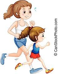 correndo, madre, figlia