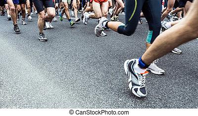 correndo, maratona, persone