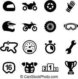 correndo motocicletta, icone