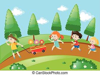 correndo, parco, bambini, giorno