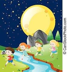 correndo, parco, bambini, notte