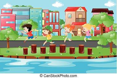 correndo, parco, registrare, bambini