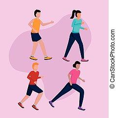 correndo, persone, attività
