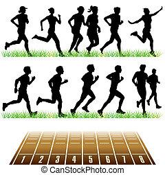 correndo, persone, set