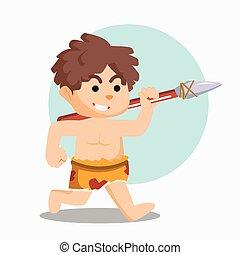 correndo, pietra, caveman, lancia