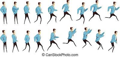 correndo, saltare, animazione, uomo