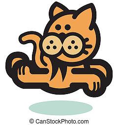 correndo, saltare, comico, gatto, cartone animato